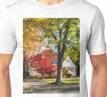 Autumn Street With Red Tree Unisex T-Shirt
