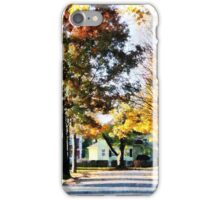 Autumn Street with Yellow House iPhone Case/Skin