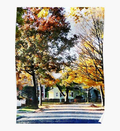 Autumn Street with Yellow House Poster