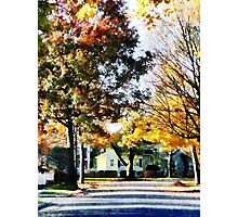 Autumn Street with Yellow House Photographic Print