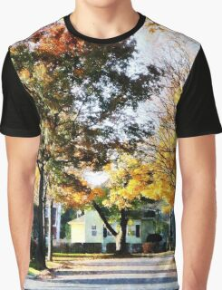 Autumn Street with Yellow House Graphic T-Shirt