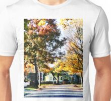 Autumn Street with Yellow House Unisex T-Shirt