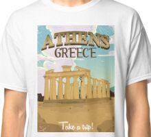 Athens Greece acropolis vintage travel poster Classic T-Shirt