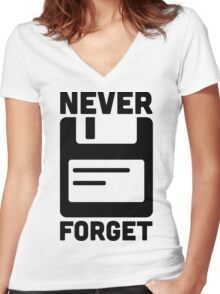 Never Forget Floppy Disk  Women's Fitted V-Neck T-Shirt