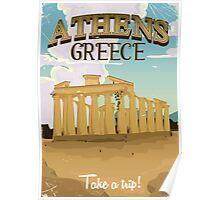 Athens Greece acropolis vintage travel poster Poster