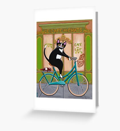 Bicycle Bread Run Cat  Greeting Card