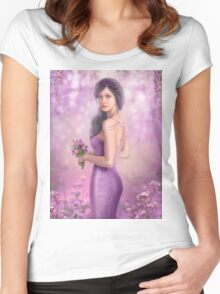 Spring Illustration beautiful Fantasy woman with purple flowers in sakura background Women's Fitted Scoop T-Shirt