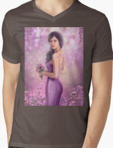 Spring Illustration beautiful Fantasy woman with purple flowers in sakura background Mens V-Neck T-Shirt