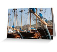 Gulets Lining The Harbour Infront of Marmaris Castle Greeting Card