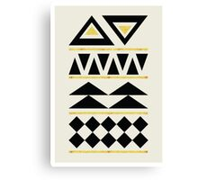 Black and Gold Pattern Triangles Canvas Print