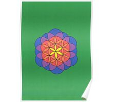 1111 - Flower of Life in Green Poster