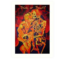 Trick or Treat Skeleton and A Corpse Embracing Death Art Print