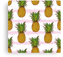 Pineapple and hand drawn stripes seamless vector print Canvas Print