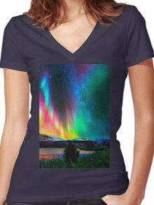 rainbow Aurora Borealis art2 Women's Fitted V-Neck T-Shirt