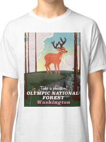 Olympic National Forest cartoon travel poster, Classic T-Shirt