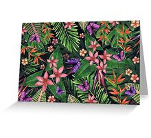 Tropical flowers pattern of exotic flower and plants. Realistic watercolor painting jungle: exotic flowers, butterfly and leaves. Exotic tropical background. Greeting Card