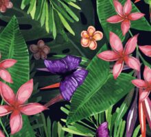 Tropical flowers pattern of exotic flower and plants. Realistic watercolor painting jungle: exotic flowers, butterfly and leaves. Exotic tropical background. Sticker