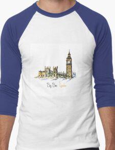 Watercolor Clock tower Big Ben Palace Men's Baseball ¾ T-Shirt