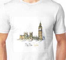 Watercolor Clock tower Big Ben Palace Unisex T-Shirt