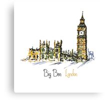 Watercolor Clock tower Big Ben Palace Canvas Print