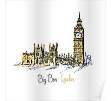 Watercolor Clock tower Big Ben Palace Poster