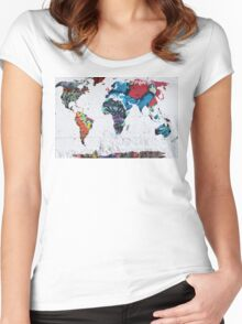 map of the world Women's Fitted Scoop T-Shirt