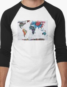 map of the world Men's Baseball ¾ T-Shirt