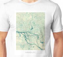Hamburg Map Blue Vintage Unisex T-Shirt