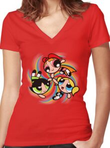 Power Puff Girls in Action Women's Fitted V-Neck T-Shirt