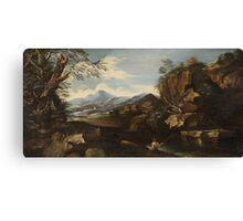 Italian School, of the 18th century, Landscape with an Angler Canvas Print