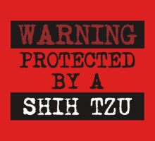 Warning Protected By A Shih Tzu Kids Clothes