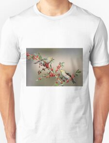 Goldfinches in Yaupon Holly Tree T-Shirt