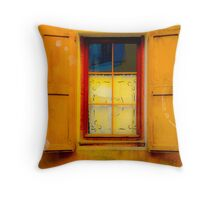 vintage window with shutters Throw Pillow
