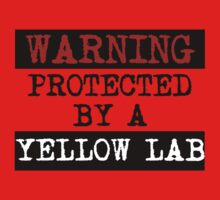 Warning Protected By A Yellow Lab Kids Clothes
