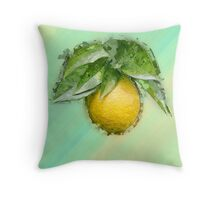Digitally manipulated Ripe orange on a tree before picking  Throw Pillow