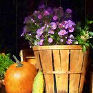 Basket of Asters With Pumpkin and Gourd by Susan Savad