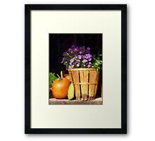 Basket of Asters With Pumpkin and Gourd Framed Print