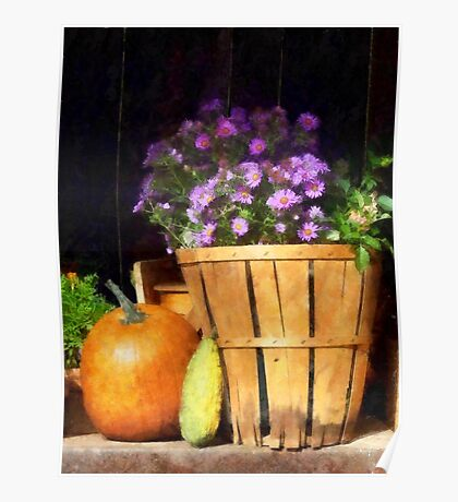 Basket of Asters With Pumpkin and Gourd Poster