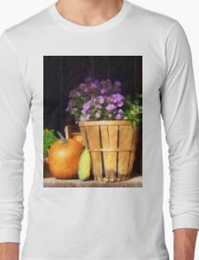 Basket of Asters With Pumpkin and Gourd Long Sleeve T-Shirt