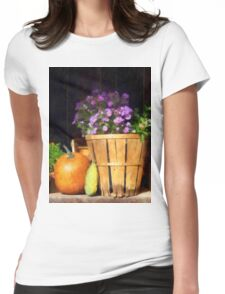 Basket of Asters With Pumpkin and Gourd Womens Fitted T-Shirt