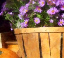 Basket of Asters With Pumpkin and Gourd Sticker