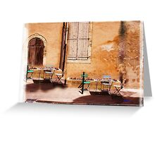 eating area in rural France Greeting Card