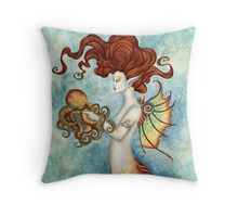 Mermaid and Octopus Throw Pillow