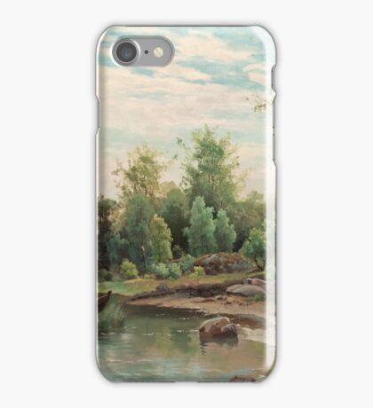 JACOB SILVÉN, VIEW OF A LAKE WITH ANGLING MAN IN A BOAT iPhone Case/Skin