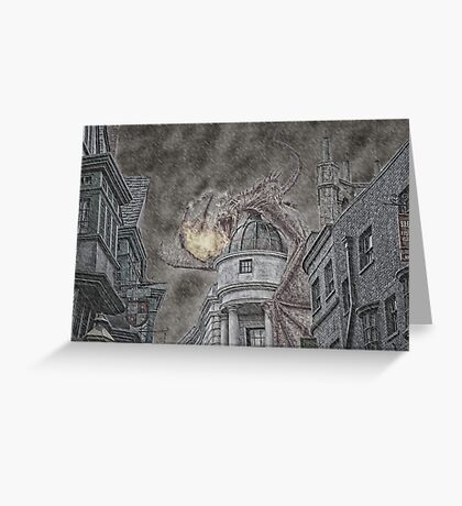 Hungarian Horntail Dragon in Red Greeting Card