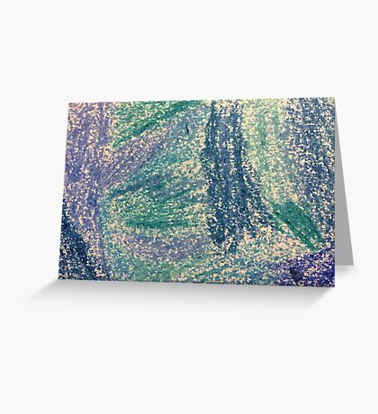 Forest In Shades of Blue Oil Pastel Art Greeting Card
