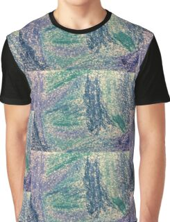Forest In Shades of Blue Oil Pastel Art Graphic T-Shirt