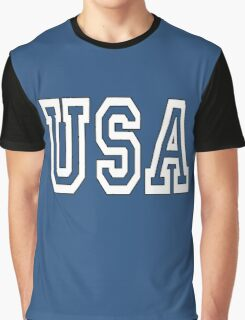 USA, U.S.A. United States of America, Patriot, America, American, US, BLACK & WHITE on BLUE Graphic T-Shirt