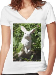 Happy easter white easter bunny Women's Fitted V-Neck T-Shirt
