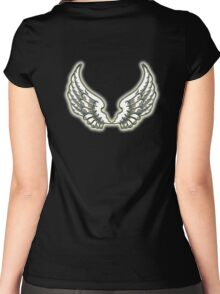 WINGS, ANGEL, angelology, Flight, Fly, Angel, Angelic, Air Force, Jets, on BLACK Women's Fitted Scoop T-Shirt